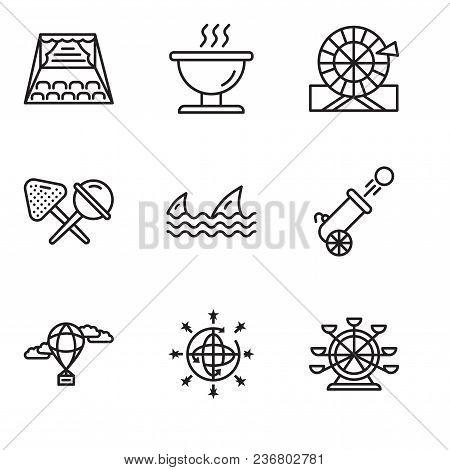 Set Of 9 Simple Editable Icons Such As Ferris Wheel, Disco Ball, Hot Air Balloon, Cannon, Sharks, Ca
