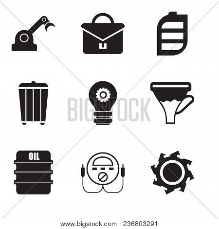 Set Of 9 Simple Editable Icons Such As Saw Blade, Energy Check, Oil, Funnel, Setting Lamp, Trash, Ba