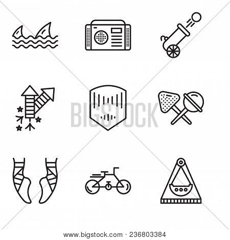 Set Of 9 Simple Editable Icons Such As Carousel, Bike, Ballet, Candy, Mask, Fireworks, Cannon, Radio