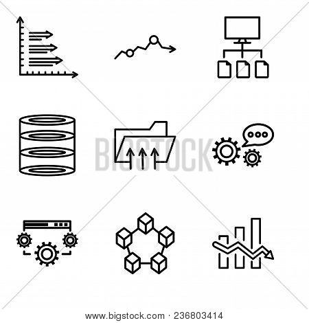 Set Of 9 Simple Editable Icons Such As Data Analytics Descendant, Data Interconnected, Data Settings