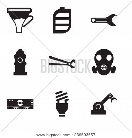 Set Of 9 Simple Editable Icons Such As Jenny, Lightbulb, Scale, Respirator, Nippers, Fire Hydrant, A