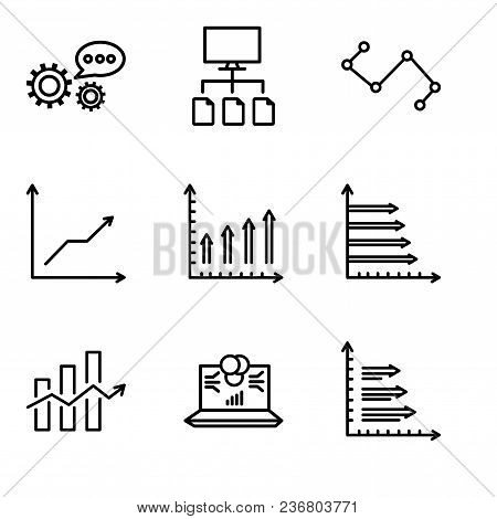Set Of 9 Simple Editable Icons Such As Analytics, Laptop Data Analytics On Screen With Circles, Decr