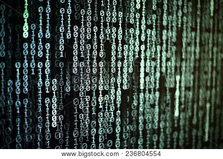 Computer Ai Intelligence Data Internet Connection Concepts. Binary Code Numbers Background On Comput