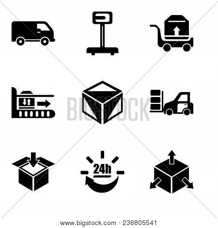 Set Of 9 Simple Editable Icons Such As Delivery Cube Box Package With Four Arrows In Different Direc
