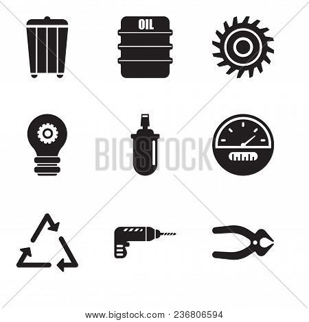 Set Of 9 Simple Editable Icons Such As Nipper, Drill, Triangle, Speedometer, Gas Can, Setting Lamp,