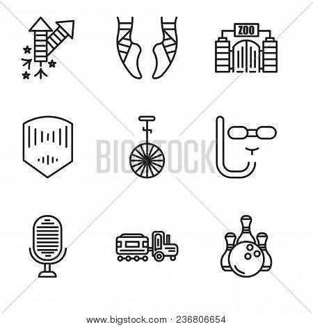 Set Of 9 Simple Editable Icons Such As Bowling, Kid, Microphone, Diving Mask, Circus, Mask, Zoo, Bal