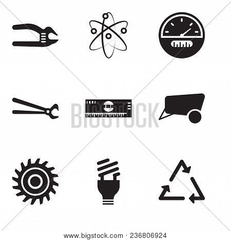 Set Of 9 Simple Editable Icons Such As Triangle, Lightbulb, Saw Blade, Dray, Scale, Nippers, Speedom