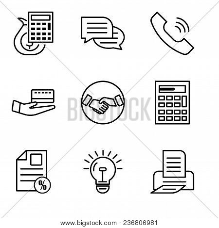 Set Of 9 Simple Editable Icons Such As Print, Bulb, Document Percent, Calculator, Hand Shaking, Card