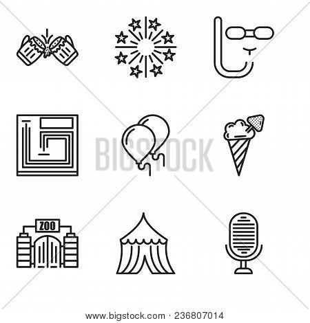 Set Of 9 Simple Editable Icons Such As Microphone, Tent, Zoo, Ice Cream, Balloons, Board Game, Divin