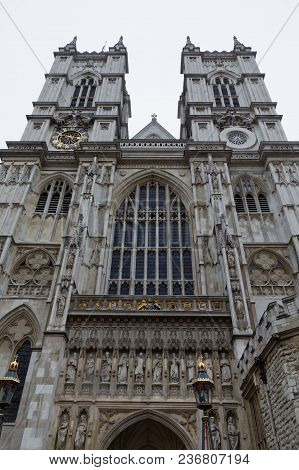 London - July 29, 2017: A Close-up Of The West Facade Of Westminster Abbey In London, England.