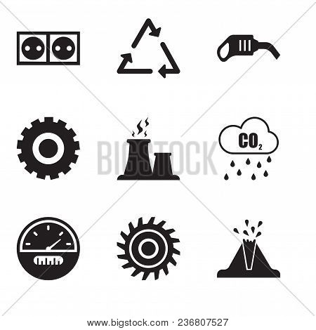 Set Of 9 Simple Editable Icons Such As Volcano, Saw Blade, Speedometer, Co2, Fabric Steam, Setting,