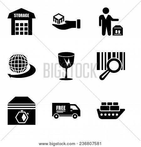 Set Of 9 Simple Editable Icons Such As Containers On Oceanic Ship, Free Delivery Truck, Up Arrows Co