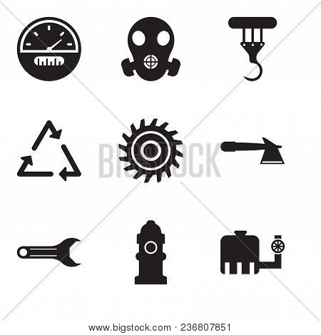 Set Of 9 Simple Editable Icons Such As Water Tank, Fire Hydrant, Adjustable Wrench, Hatchet, Saw Bla