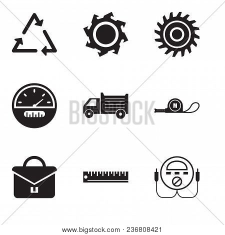Set Of 9 Simple Editable Icons Such As Energy Check, Ruler, Portfolio, Meter, Lorry, Speedometer, Sa