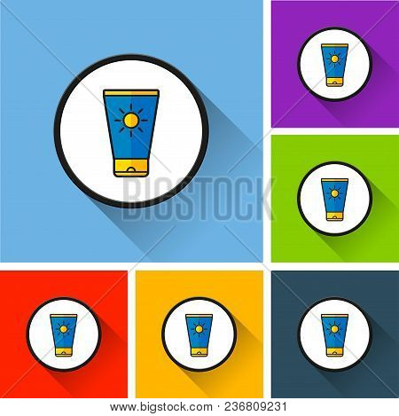 Illustration Of Sunscreen Lotion Icons With Long Shadow