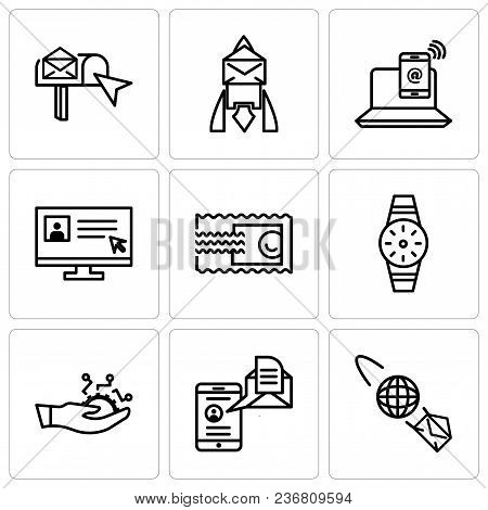 Set Of 9 Simple Editable Icons Such As Email Planet, Mail And Spartphone, Development, Smartwatch, S