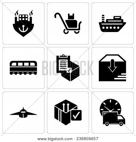 Set Of 9 simple editable icons such as Logistics delivery truck and clock, Delive box verification, Airplane frontal view, Package delivery, Commercial delivery, Train front, Sea ship, Delivery poster