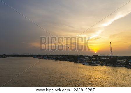 Beautiful Sunset At Bangtaboon Bay, Phetchaburi, Thailand.