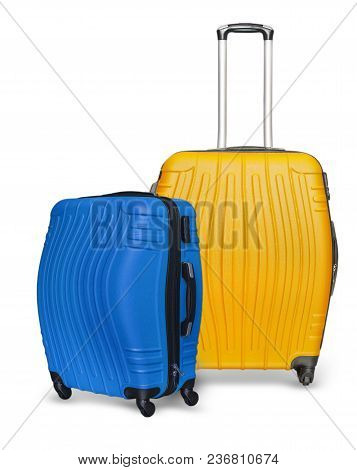 The Colored Suitcases On The White Background