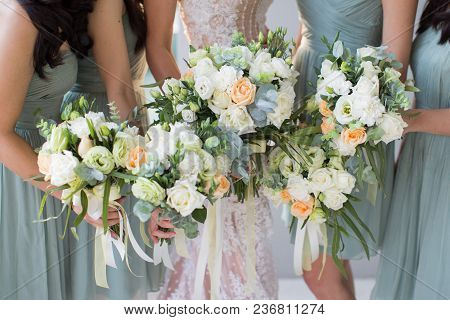Wedding Flower Carried By Bride And Bride Maid