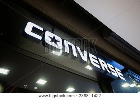 Chiangmai, Thailand - June 16, 2017: View Of Converse Shoes. Converse Is An American Shoe Company Wi
