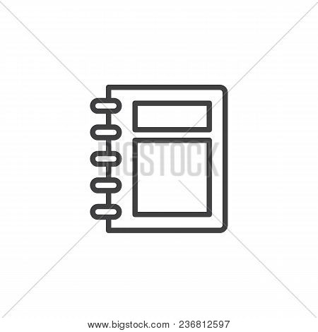 Spiral Notebook Cover Outline Icon. Linear Style Sign For Mobile Concept And Web Design. Notepad Sim