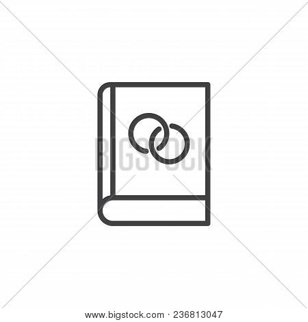 Book With Wedding Rings Outline Icon. Linear Style Sign For Mobile Concept And Web Design. Education