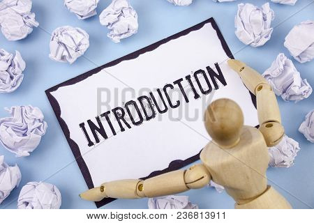 Handwriting Text Writing Introduction. Concept Meaning First Part Of A Document Formal Presentation