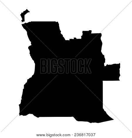 Black Silhouette Country Borders Map Of Angola On White Background Of Vector Illustration