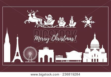 Santa Claus With Christmas Presents In Sleigh With Reindeers Over Famous Buildings And Constructions