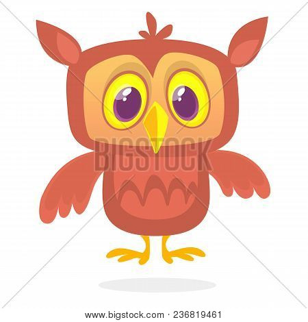 Funny Cartoon Owl With Big Eyes. Vector Illustration. Design For Print,cartboard,  Children Book Ill
