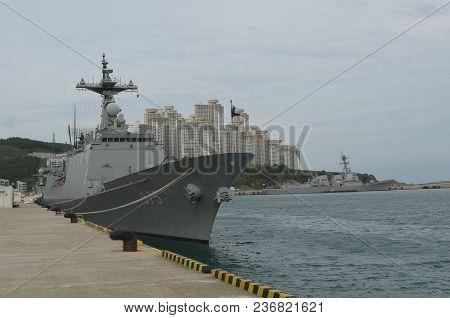 South Korean Naval Vessel Docked In Busan, South Korea On October 5, 2013.