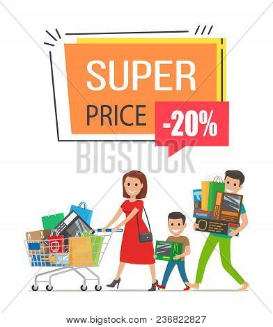 Super Price -20 Off, Promotional Poster Representing Family, Consisting Of Father, Mother And Son, S