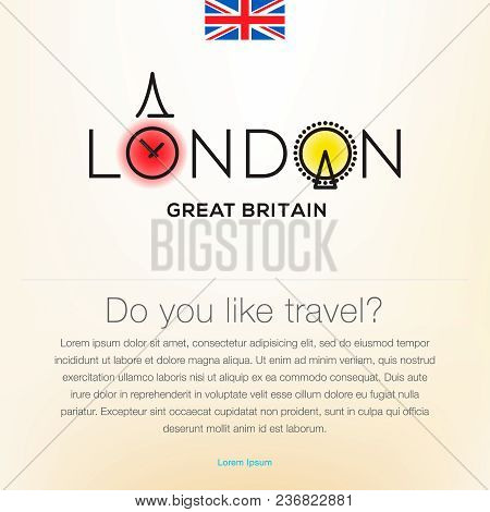 Welcome To London, Great Britain, Travel Desing Background, Poster, Vector Illustration