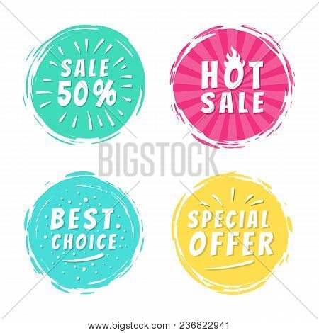 Sale 50 Best Hot Choice Special Offer Promo Stickers Round Labels Brush Strokes Vector Illustration