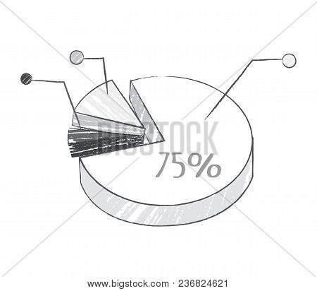 Graphic With Percentage, Realistic Sketch Of Grey Colors, Representing Data In Visual Form And Expla