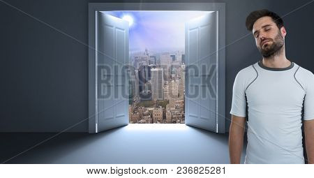 fit man by door opening into cityscape