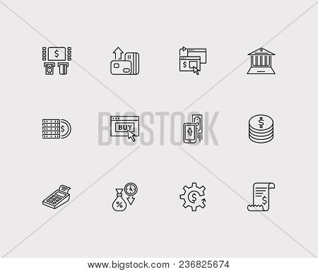 Money Payment Icons Set. Mobile Payment And Money Payment Icons With Online Payment, Bank Atm And Ec