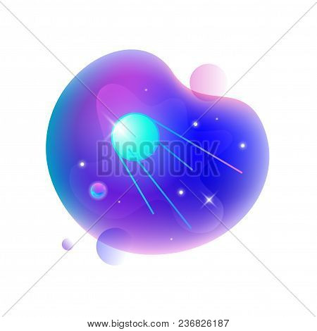 Vector Ui Illustration Of Sputnic Floating In An Outer Space On Bright Blue Spot.