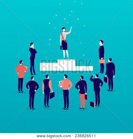 Vector Flat Illustration With Successful Business Lady Standing On Podium In Front Of Office Men And