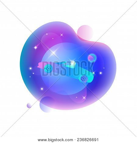 Vector Ui Illustration Of Tesla Roadster Car Floating In An Outer Space On Bright Blue Spot.