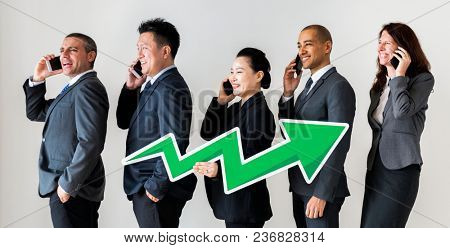 Business people talking on call