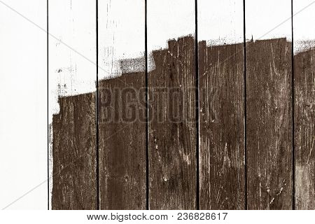 Weathered Railings Or Wooden Slats Background With Unfinished White Paint, Copyspace