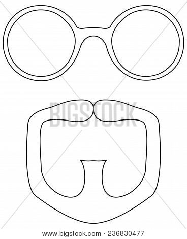 Line Art Black And White Goatee Glasses Set. Fashion Vector Illustration For Gift Card Certificate S