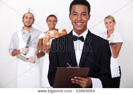 People working in the service industry