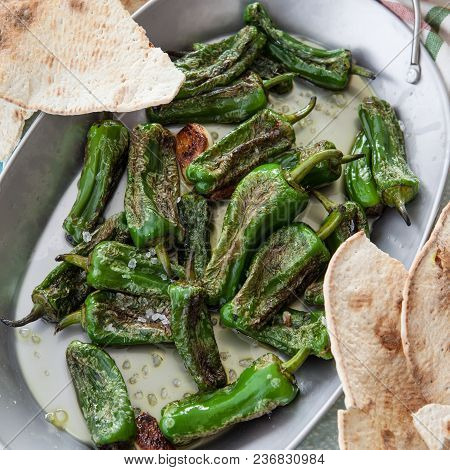 Fried Spanish Green Peppers With Olive Oil And Corse Sea Salt