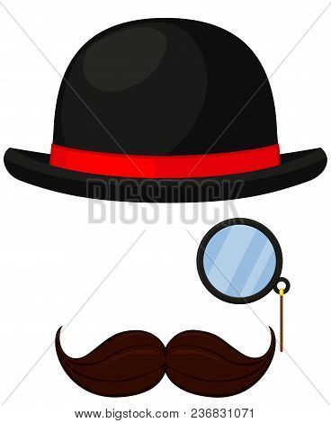 Colorful Cartoon Hipster Avatar Element Set. Bowler Hat, Monocle And Moustache. Fashion Vector Illus