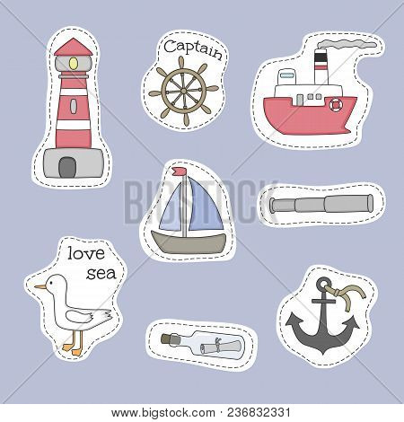 Set Of Nautical Cartoon Stickers. Vector Hand Drawn Objects And Symbols Collection. Label Design Ele