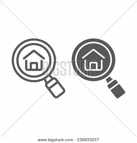 Find Real Estate Company Line And Glyph Icon, Real Estate And Home, Search Home Sign Vector Graphics