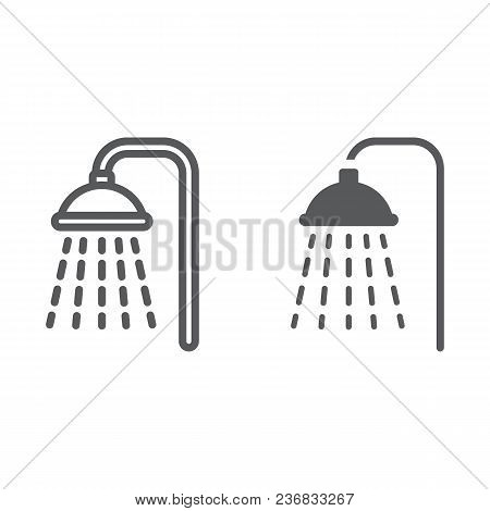 Shower Line And Glyph Icon, Real Estate And Home, Bath Sign Vector Graphics, A Linear Pattern On A W